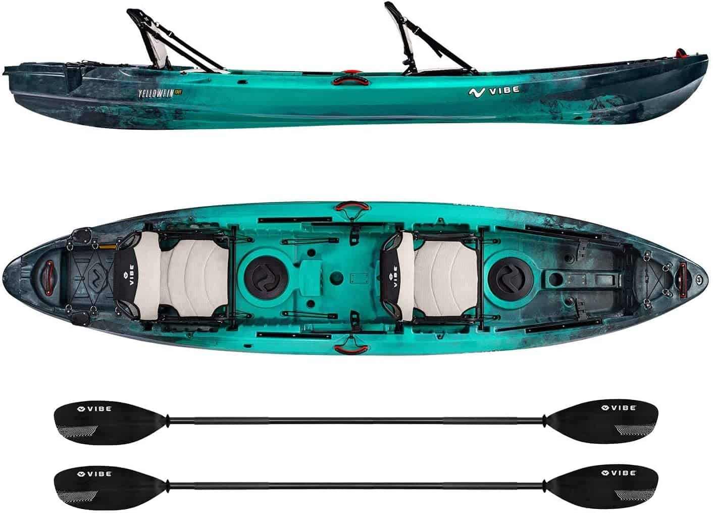 Caribbean Blue Tandem Kayak by Vibe Kayaks